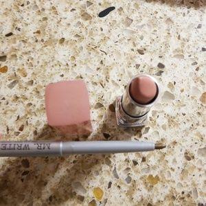 Makeup - New Makeup Bag with zipper top, lipstick & liner